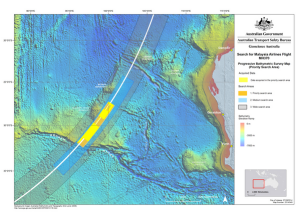 As of 7 August 2014, around 40,000 square kilometres of the ocean floor of the high-priority search area have been analysed and mapped. The mapping process involves two stages. Firstly the data is gathered by the survey ships. That data is then processed into a seamless usable form by Geoscience Australia to support a safe and effective deep-water search. The high-priority search area is around 60,000 square kilometres.
