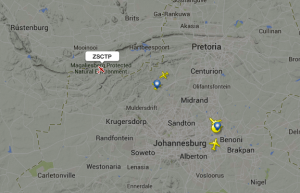 ZS-CTP a Cessna Grand Caravan approaching Lanseria after departing Durban.  FlightRadar24.com