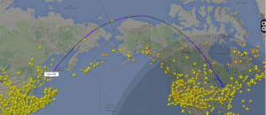 Delta 159 Detroit - Seoul flight path.