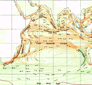 Ocean currents flow counter-clockwise from Australia towards the Indian Ocean Islands of Reunion, Seychelles and the Maldives.